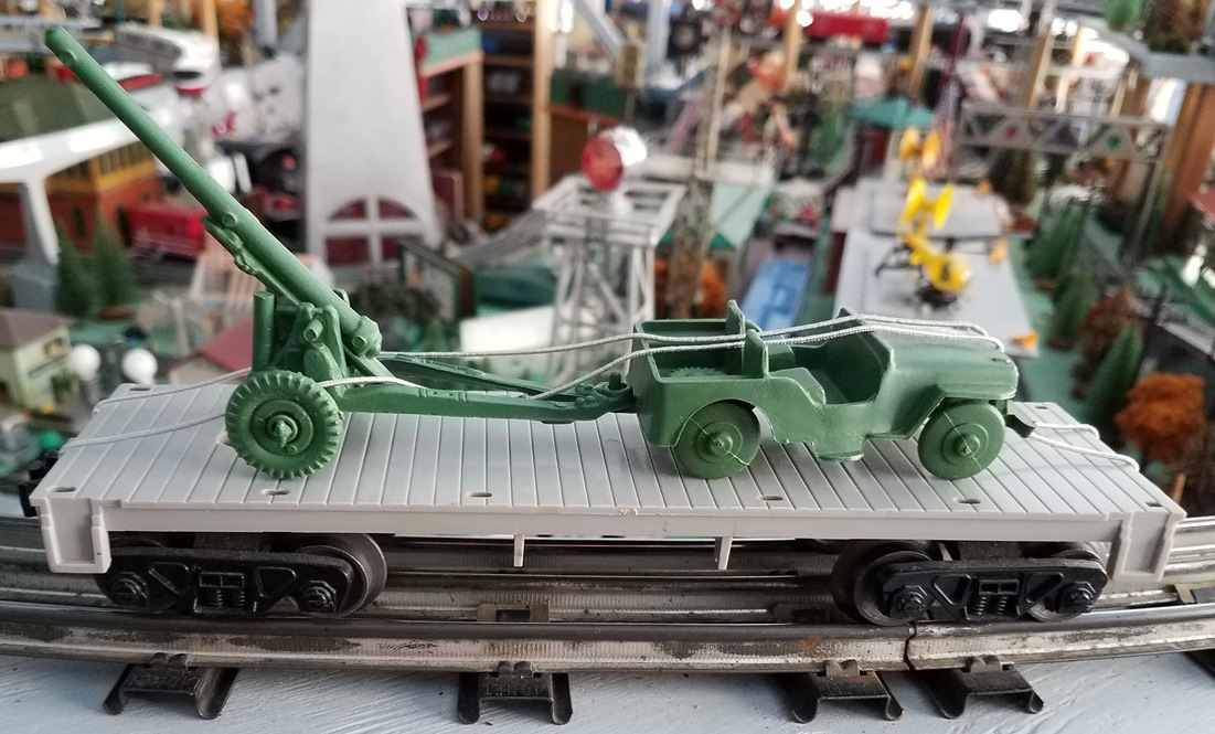 Lionel Postwar 6401-25 Military Jeep and Cannon flatcar
