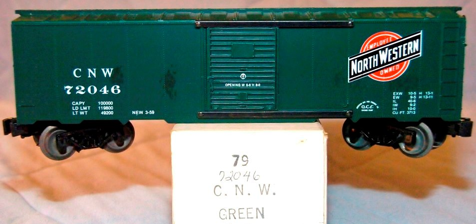 Frank's Roundhouse Chicago and North Western dark green boxcar