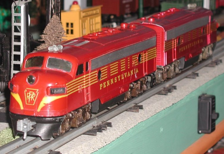 Pennsylvania F-7 solid stripes locomotives