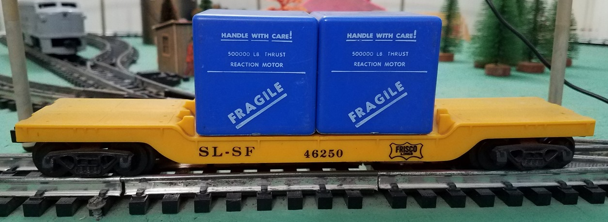 Frisco drop center flatcar with blue cases