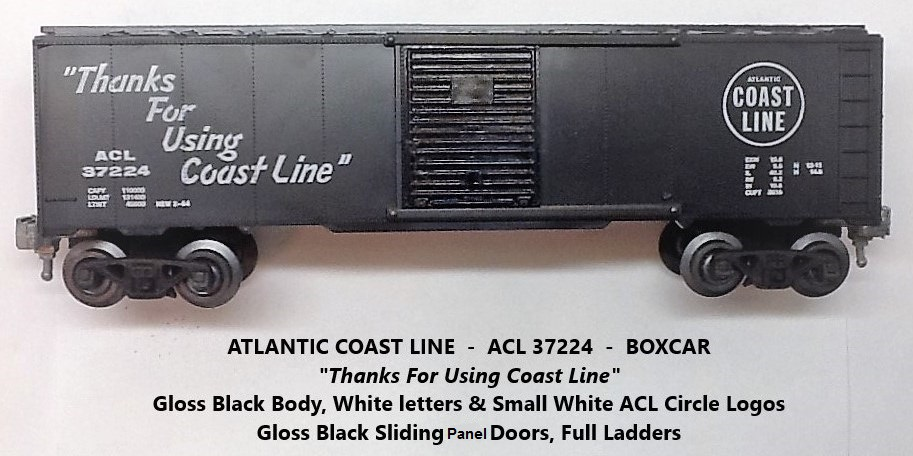 Kris Atlantic Coast Line 37224 gloss black boxcar with gloss black panel doors