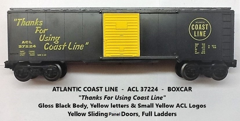 Kris Atlantic Coast Line 37224 gloss black boxcar with yellow panel doors