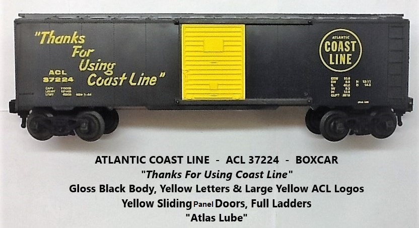 Kris Atlantic Coast Line 37224 gloss black Atlas Lube boxcar with yellow panel doors