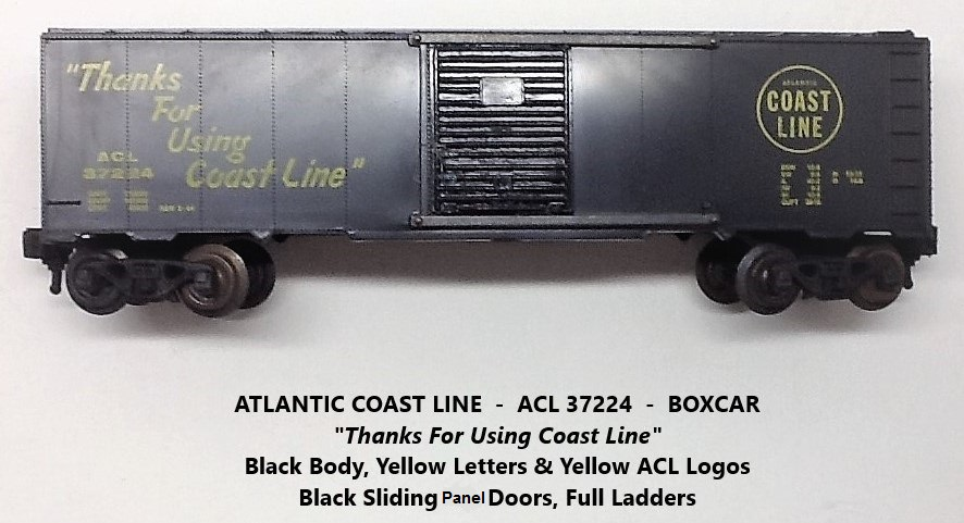 Kris Atlantic Coast Line 37224 black boxcar with black panel doors