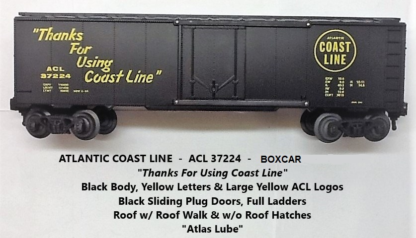 Kris Atlantic Coast Line 37224 black Atlas Lube boxcar with black plug doors