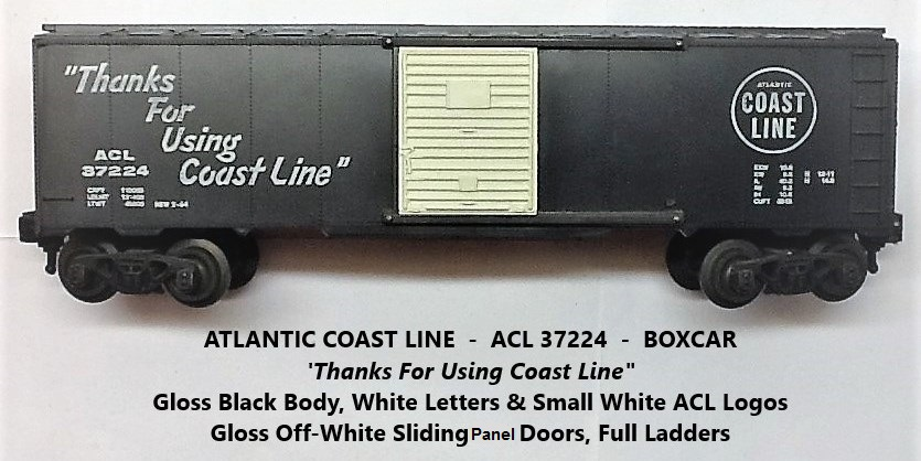 Kris Atlantic Coast Line 37224 gloss black boxcar with off-white panel doors
