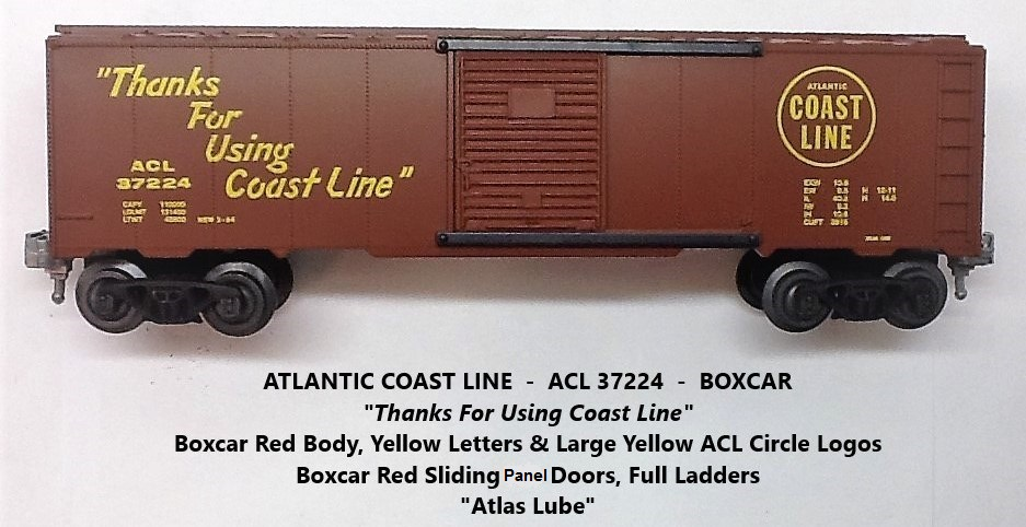 Kris Atlantic Coast Line 37224 boxcar red Atlas Lube boxcar with panel doors
