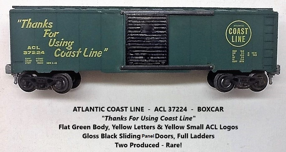 Kris Atlantic Coast Line 37224 green boxcar with black panel doors