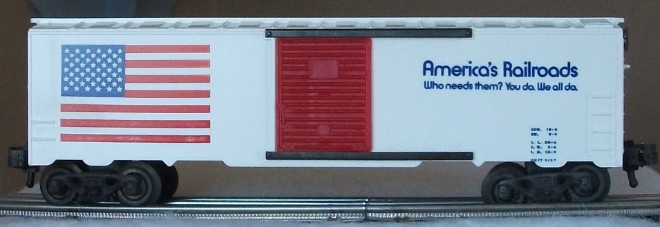 Kris America's Railroads white boxcar with blue lettering and red panel doors