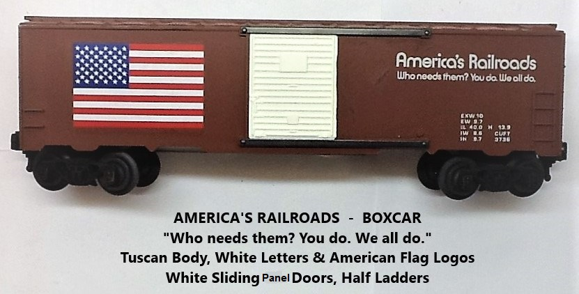 Kris America's Railroads tuscan boxcar with white panel doors