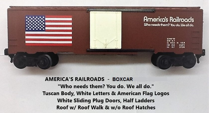 Kris America's Railroads tuscan boxcar with white plug doors
