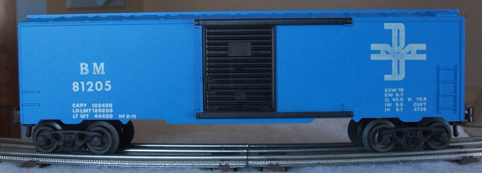 Kris Boston and Maine 81205 blue boxcar with panel doors
