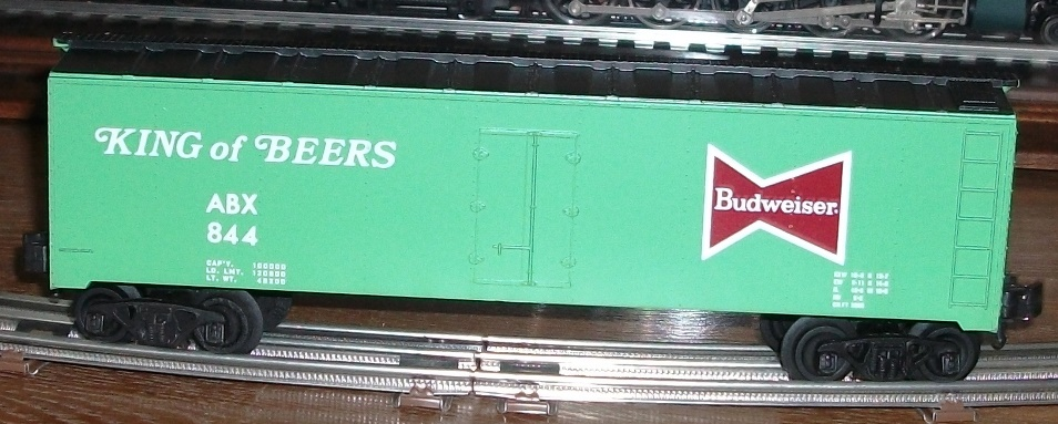 Kris Budweiser 844 light green and black refrigerator car with white lettering