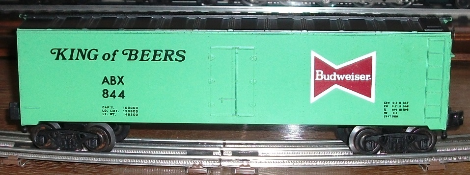 Kris Budweiser 844 light green and black refrigerator car with black lettering