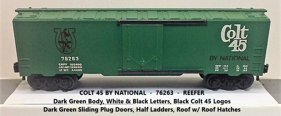 Kris Colt 45 malt liquor 76263 refrigerator car with green plug doors