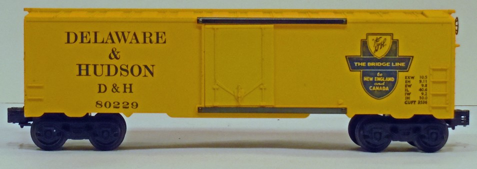 Kris Delaware and Hudson 80229 yellow boxcar with black lettering