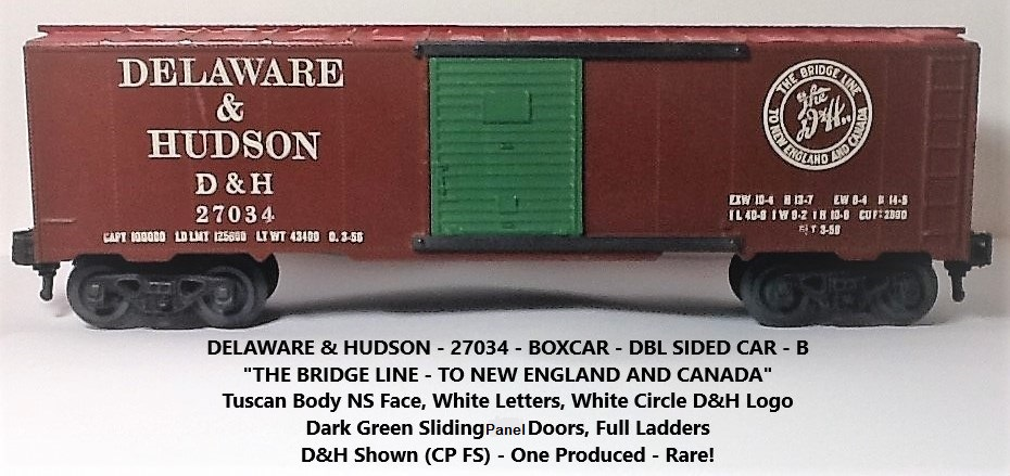 Kris Delaware and Hudson and CP 27034 double-sided boxcar