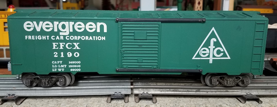 Kris Evergreen Freight Car Corporation 2190 flat dark green boxcar