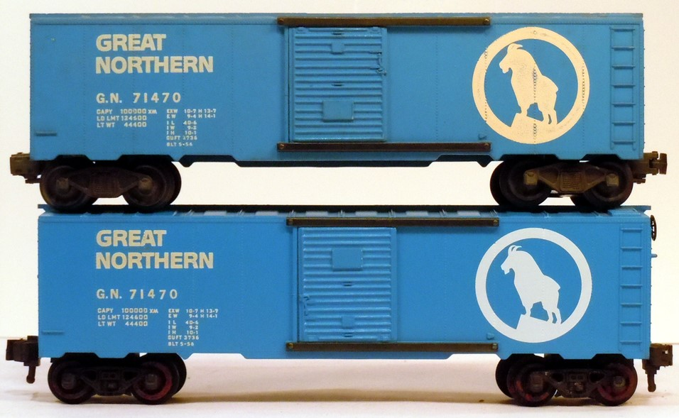 Kris Great Northern 71470 blue boxcar comparison