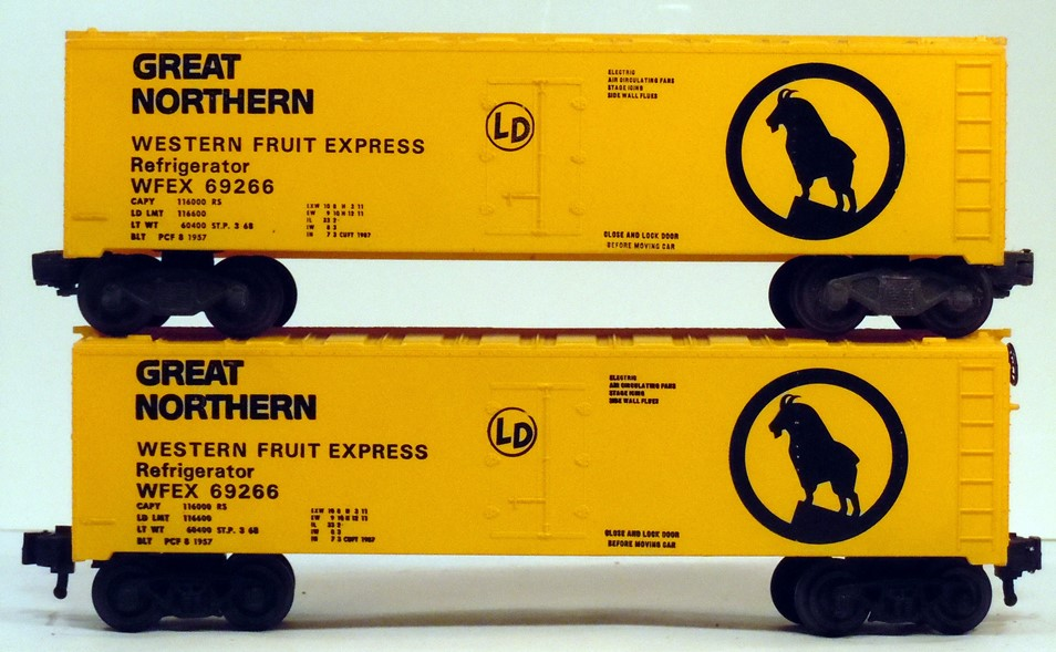 Kris Great Northern 69266 yellow refrigerator car comparison