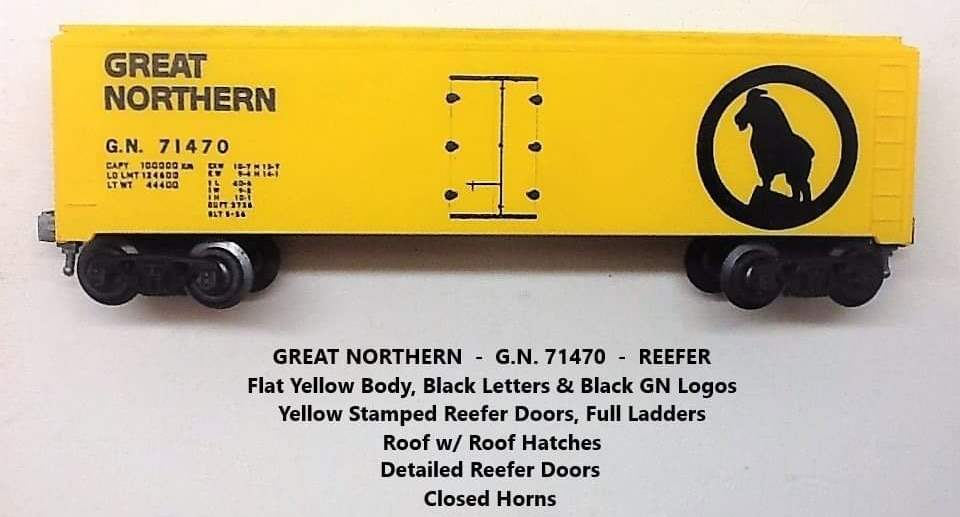 Kris Great Northern 71470 yellow refrigerator car with closed mountain goat horns