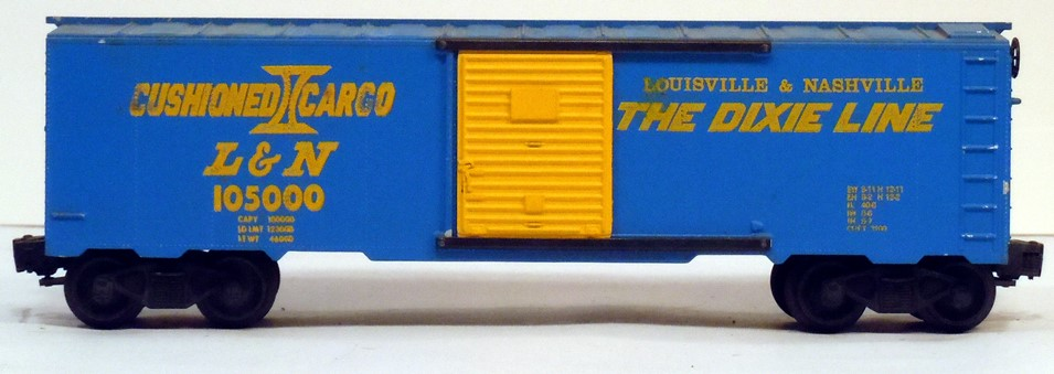 Kris Louisville and Nashville 105000 blue Cushioned Cargo boxcar with yellow doors