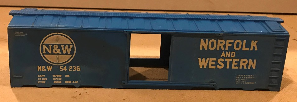 Kris Norfolk and Western 54236 blue boxcar paint sample