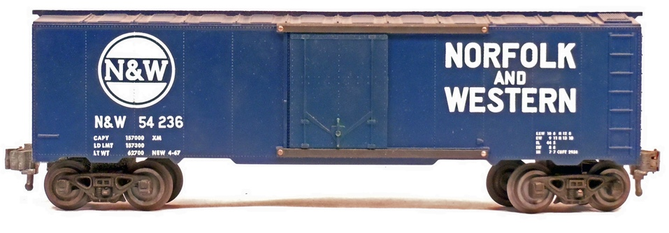 Kris Norfolk and Western 54236 blue boxcar with plug doors