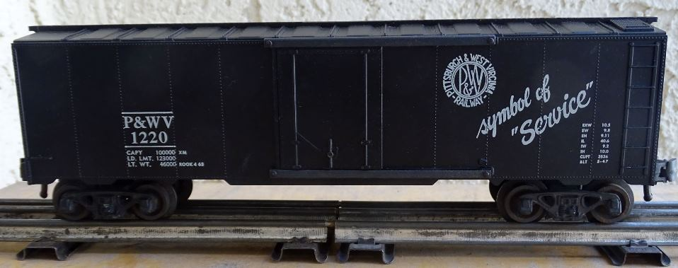 Kris Pittsburgh and West Virginia 1220 black boxcar with black plug doors
