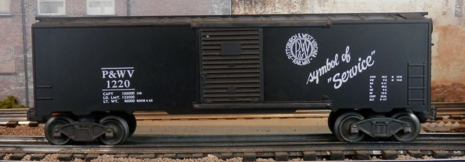 Kris Pittsburgh and West Virginia 1220 black boxcar with black panel doors
