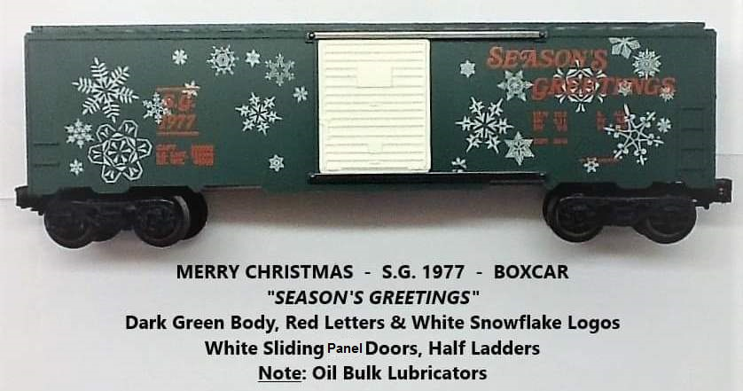Kris 1977 Season's Greetings green boxcar with red lettering
