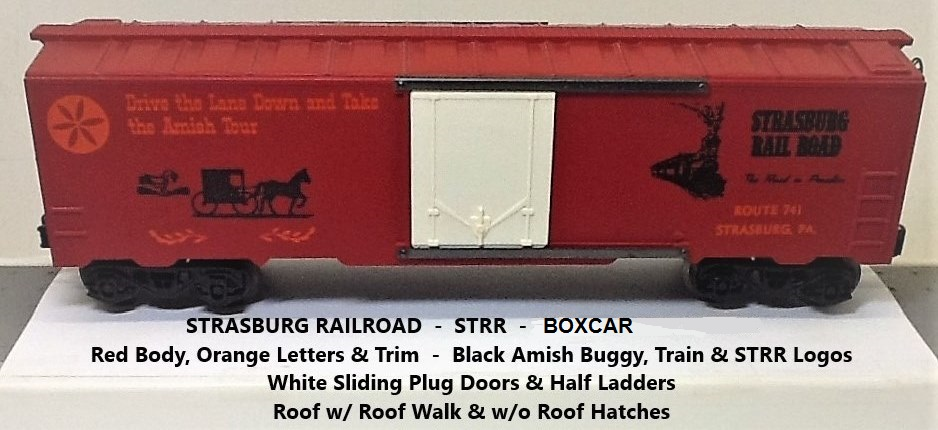 Kris Strasburg Rail Road red boxcar with plug doors