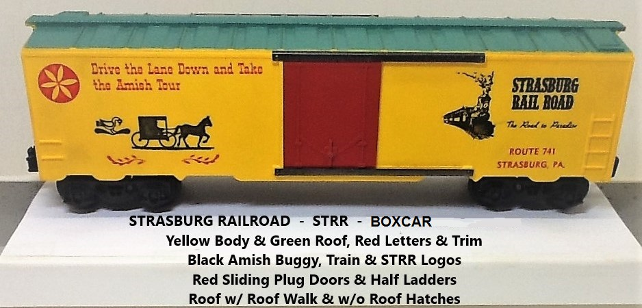 Kris Strasburg Rail Road yellow and green boxcar