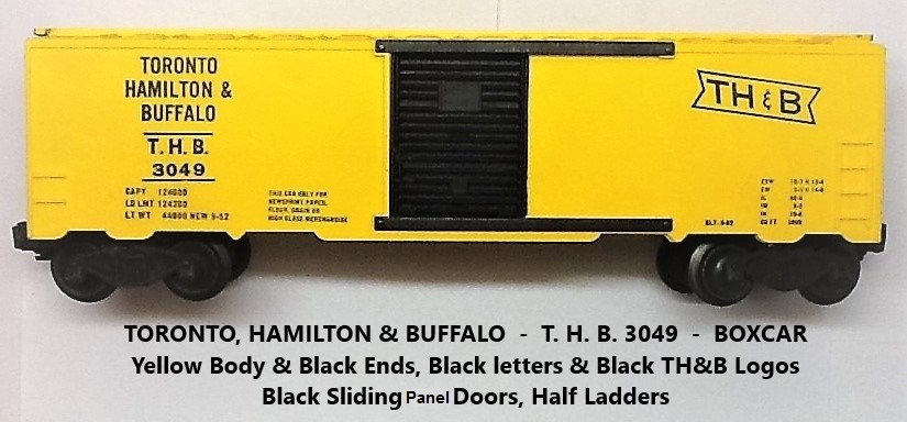 Kris Toronto, Hamilton and Buffalo yellow and black boxcar