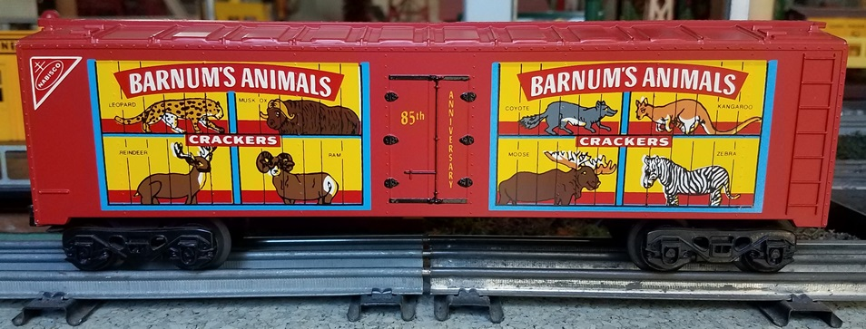 Frank's Roundhouse red Animals Crackers refrigerator car