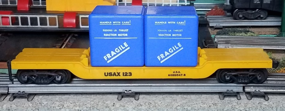 Satellite Train drop center flatcar with blue cases