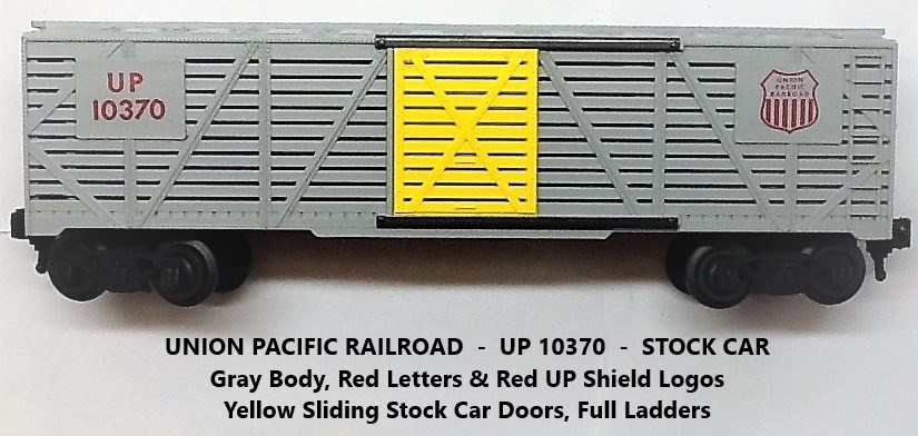 Kris Union Pacific 10370 gray stock car with yellow doors