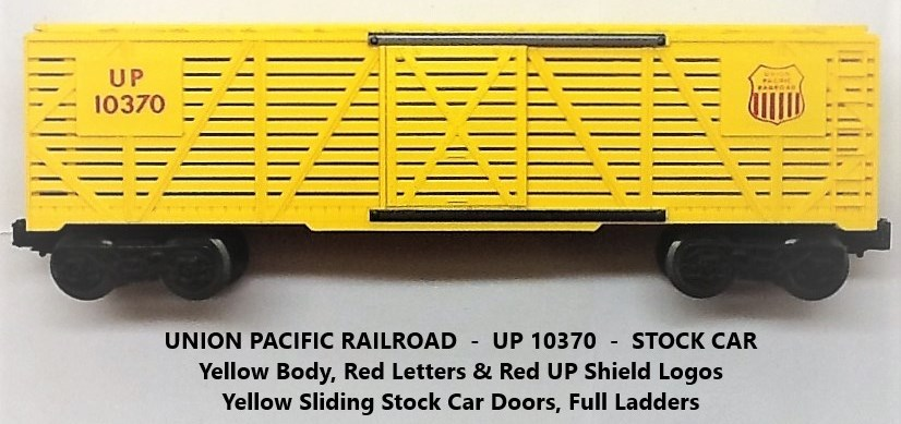 Kris Union Pacific 10370 yellow stock car with yellow doors