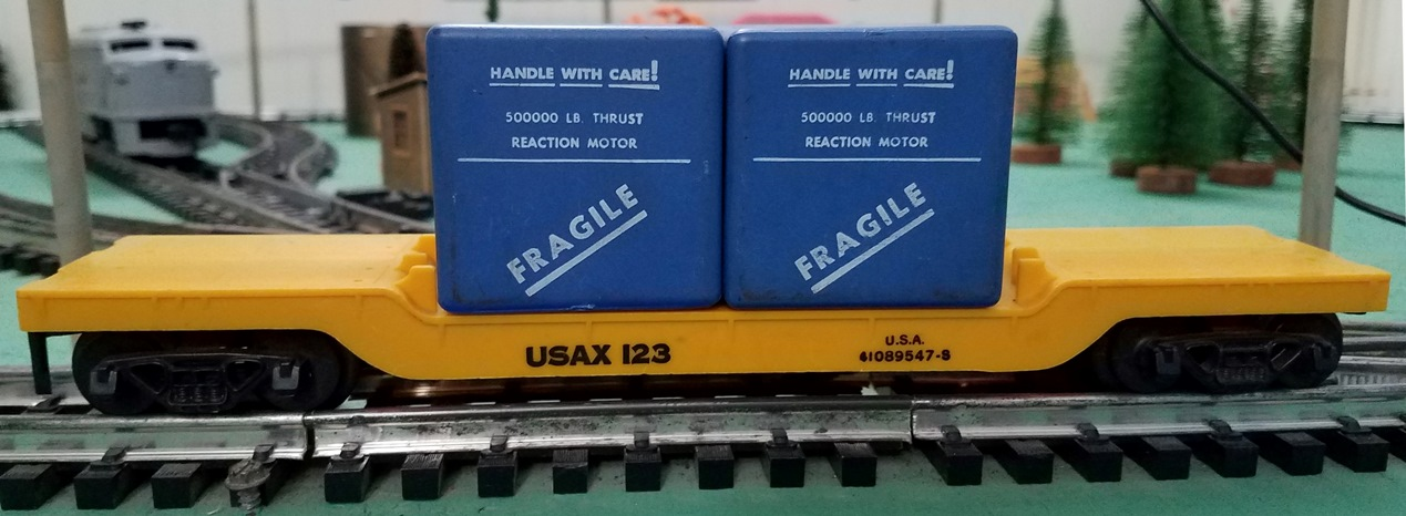 USAX 123 drop center flatcar with blue cases