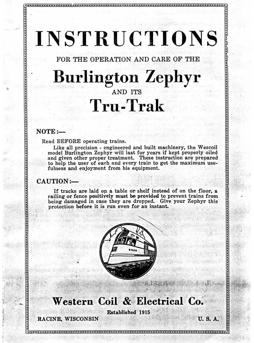 Western Coil & Electrical Company Burlington Zephyr Instructions