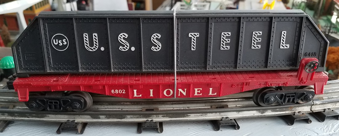 Lionel Postwar 6802 flatcar with U.S. Steel girders