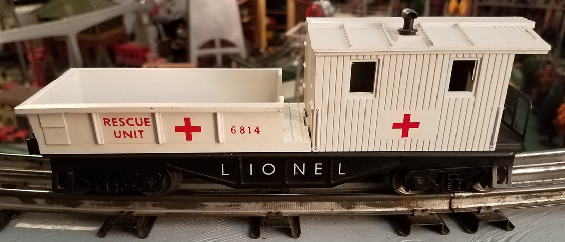 Lionel Postwar 6814 Rescue Unit black frame work caboose