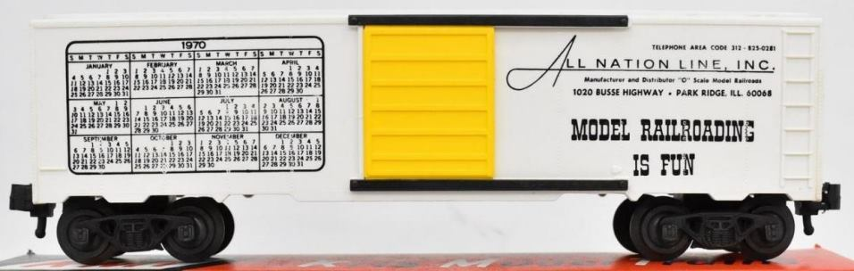 Kris All Nation Line calendar boxcar with yellow doors