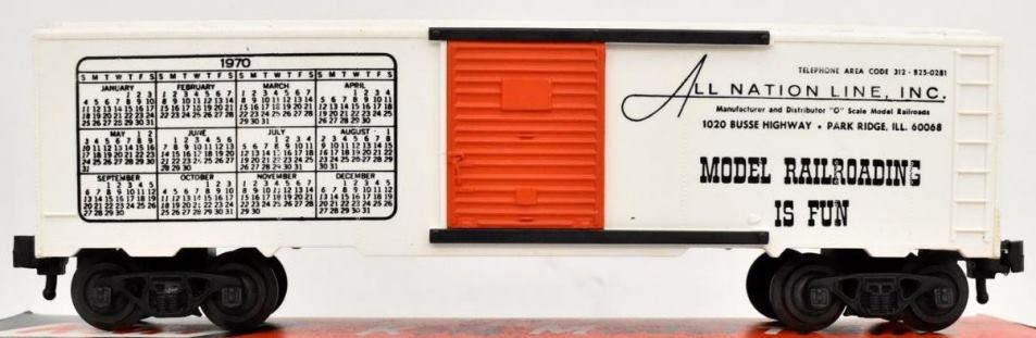 Kris All Nation Line calendar boxcar with orange doors