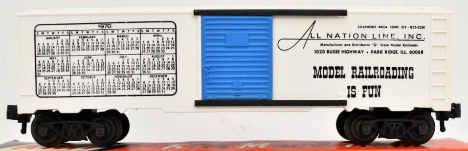 Kris All Nation Line calendar boxcar with blue doors