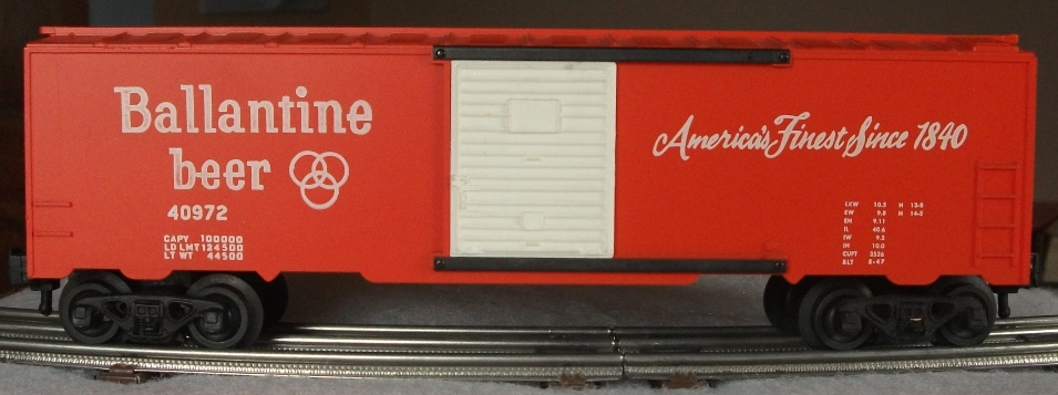 Kris Ballantine beer boxcar with white panel doors