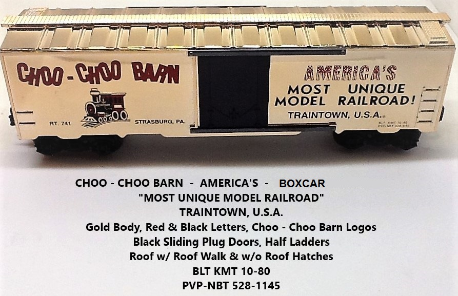 Kris Choo-Choo Barn shiny gold PVP-NBT boxcar with black plug doors