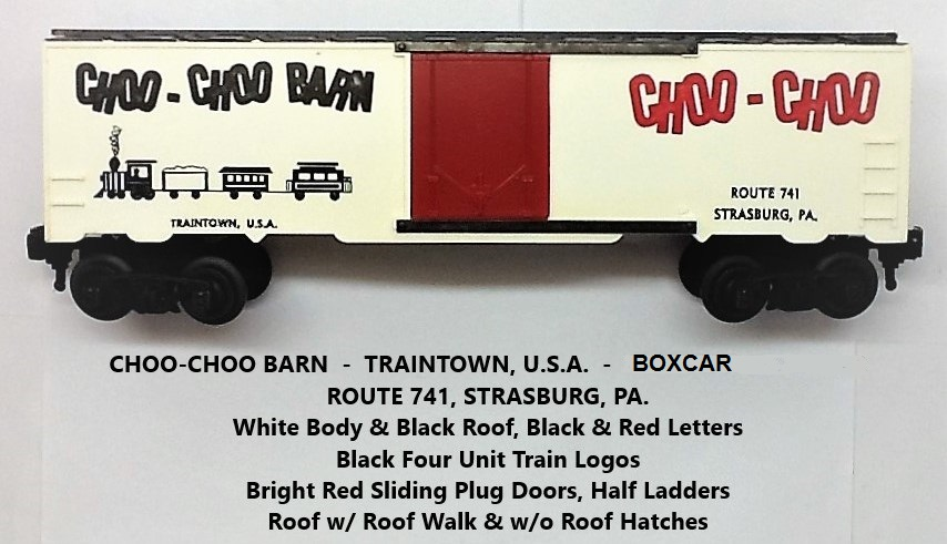 Kris Choo-Choo Barn white and black boxcar with red plug doors