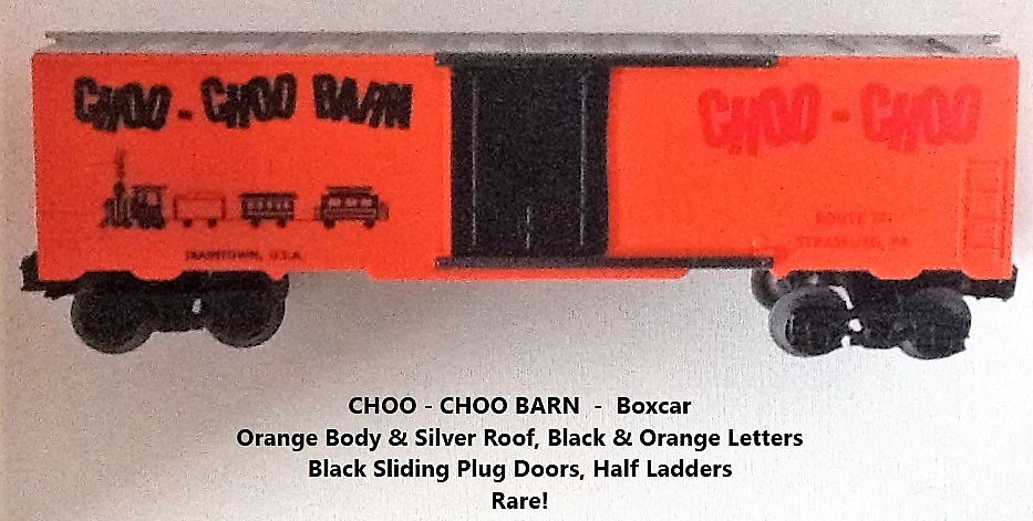 Kris Choo-Choo Barn orange and silver boxcar with black plug doors