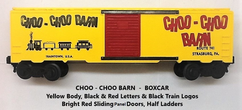 Kris Choo-Choo Barn yellow boxcar with train logo and red panel doors